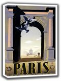 Paris. Vintage French Travel Canvas. Sizes: A4/A3/A2/A1 (002705)